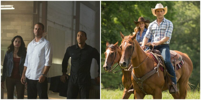 """Michelle Rodriguez, Paul Walker and Chris """"Ludacris"""" Bridges in """"Furious 7,"""" left, should continue to rule the box office this weekend over Scott Eastwood and Britt Robertson in """"The Longest Ride,"""" right."""