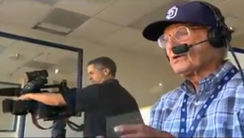 Jerry Coleman in the Padres' broadcast booth.