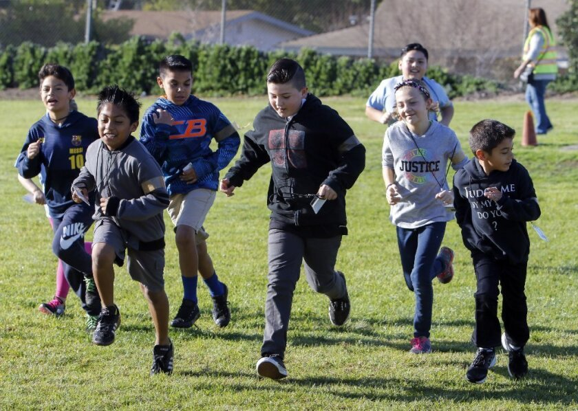 Feb. 9, 2017, Oceanside - San Luis Rey Elementary School students take part in their daily running club in Oceanside on Thursday.