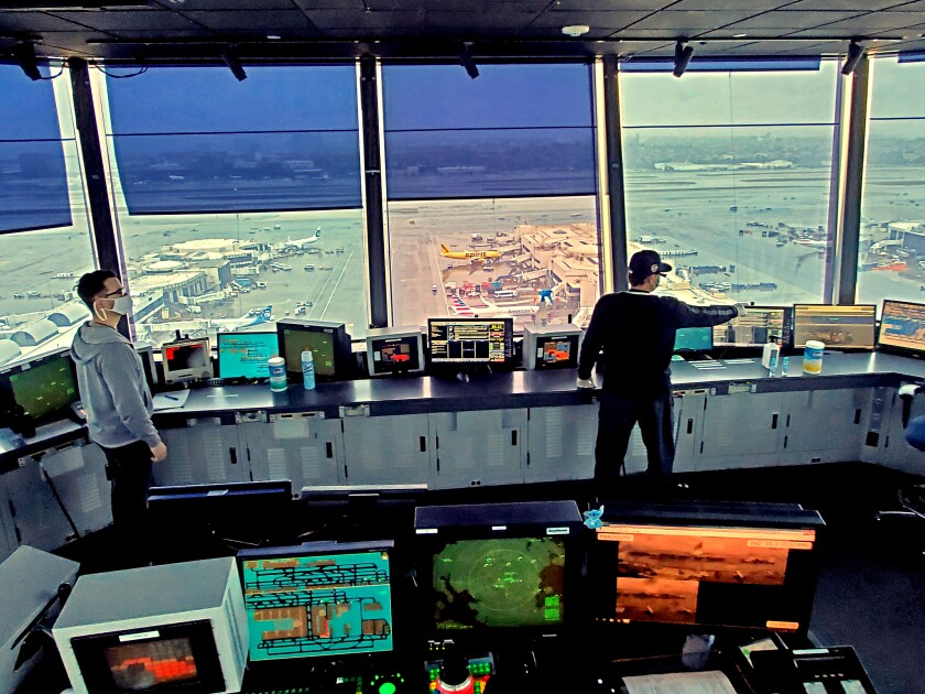 Los Angeles International Airport traffic control tower on Apr. 9, 2020