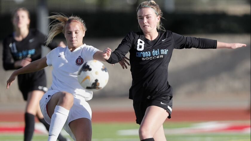 Corona del Mar High's Megan Chelf (8) competes for the ball against Beckman's Lauren Drysdale for th