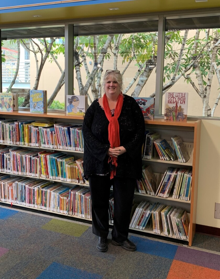 Librarian Rebecca Lynn at the San Marcos Branch Library.