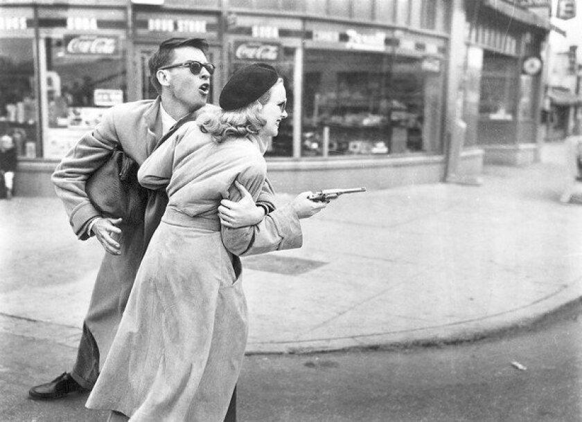 "John Dall and Peggy Cummins star in ""Gun Crazy."""
