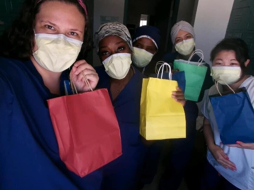 Health care workers with gift bags from ProjectReo, which has distributed hundreds of gift bags in San Diego County.