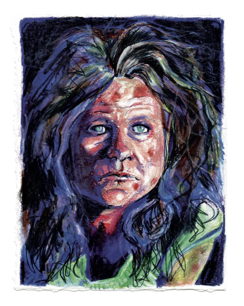 A colored pencil drawing of a haggard woman.