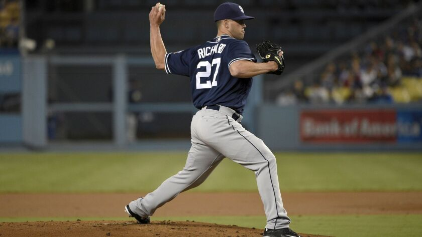 Padres starting pitcher Clayton Richard pitches to Los Angeles Dodgers' Howie Kendrick, not pictured, during the first inning of a baseball game in Los Angeles, Friday, Sept. 2, 2016.