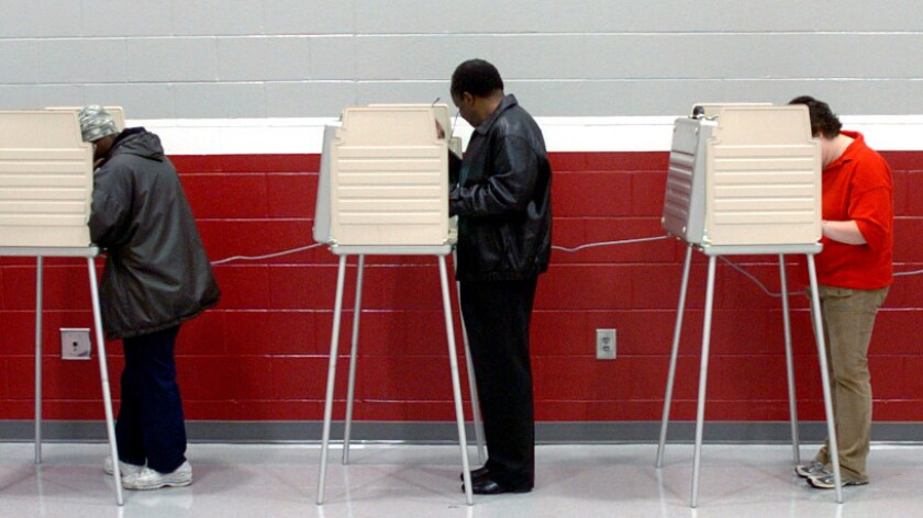 Citizens vote in Springfield, Ohio, on Nov. 2, 2004.