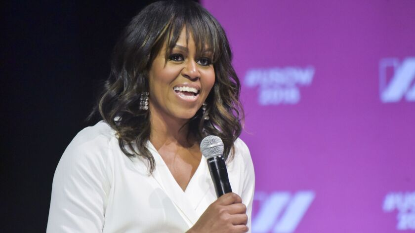 Michelle Obama in May. In June she's expected to give a preview of her forthcoming memoir.