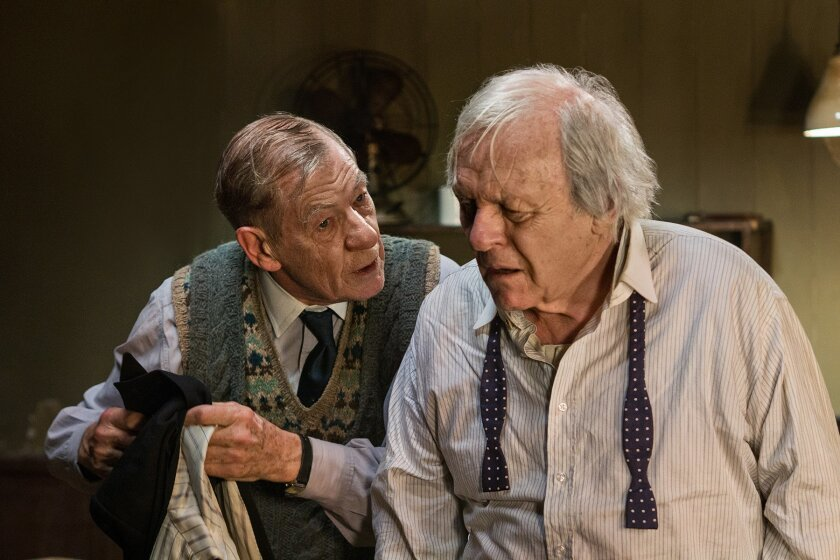 "In this undated image made available by Starz on Thursday May 26, 2016, shows British actors Sir Ian McKellen, left, and Sir Anthony Hopkins performing in the TV drama The Dresser. He's a much-lauded, Academy Award-winning performer who created one of the great movie villains in Hannibal Lecter. But as he reflects on playing a fading stage star in TV movie ""The Dresser,"" Anthony Hopkins says: ""I wasn't cut out to be an actor."" (Joss Barratt/Starz via AP)"