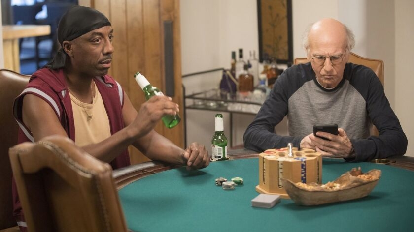 """J.B. Smoove as Leon and Larry David as himself in David's HBO comedy """"Curb Your Enthusiasm,"""" returning for a ninth season after six years."""