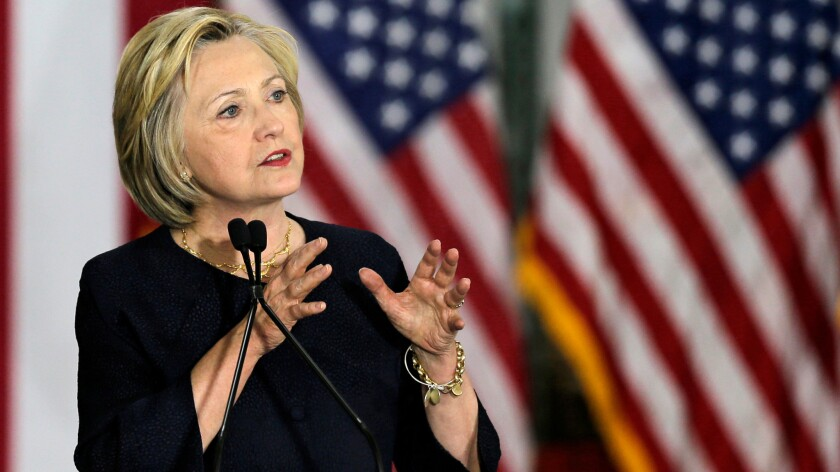 Hillary Clinton speaks in Cleveland on June 13.