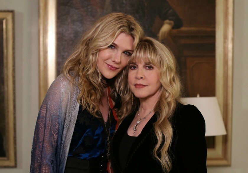 "Lily Rabe, left, plays Misty Day, a backwoods witch who admires Stevie Nicks, right, on ""American Horror Story: Coven."""