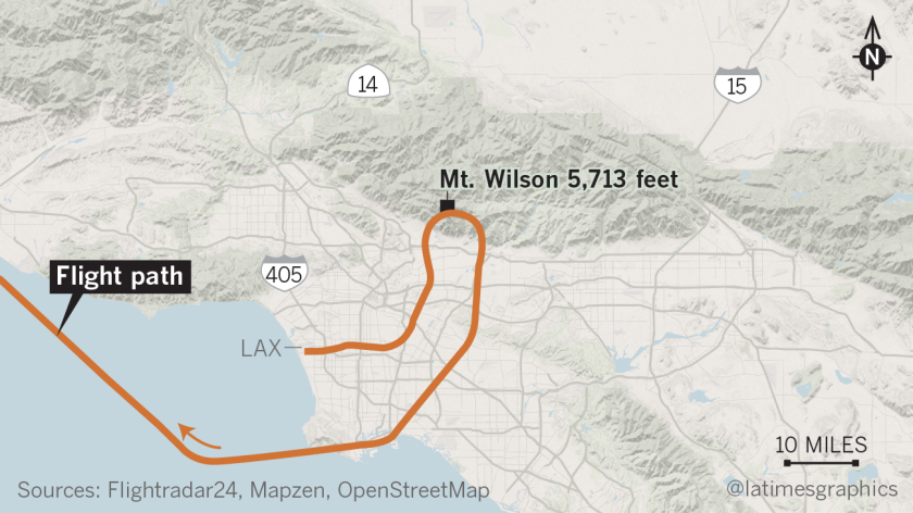 A Taiwan-bound jetliner was mistakenly diverted toward the San Gabriel Mountains.