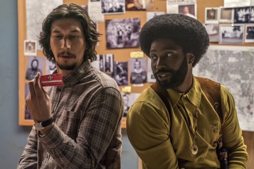 """Adam Driver and John David Washington in Spike Lee's """"BlacKkKlansman,"""" which received its only Spirit nomination for Driver's supporting turn. Washington was nominated for a different film in the same category."""