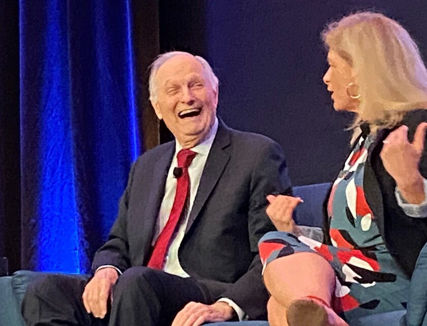 TV and science-communication icon Alan Alda shares a laugh with Laura Lindenfeld, executive director of the Alan Alda Center for Communicating Science, at La Jolla's Scripps Research auditorium on Jan. 16.
