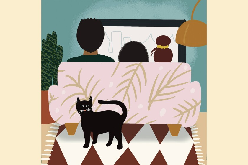 An illustration of a father and two daughters sitting on a couch, and a cat is standing guard.