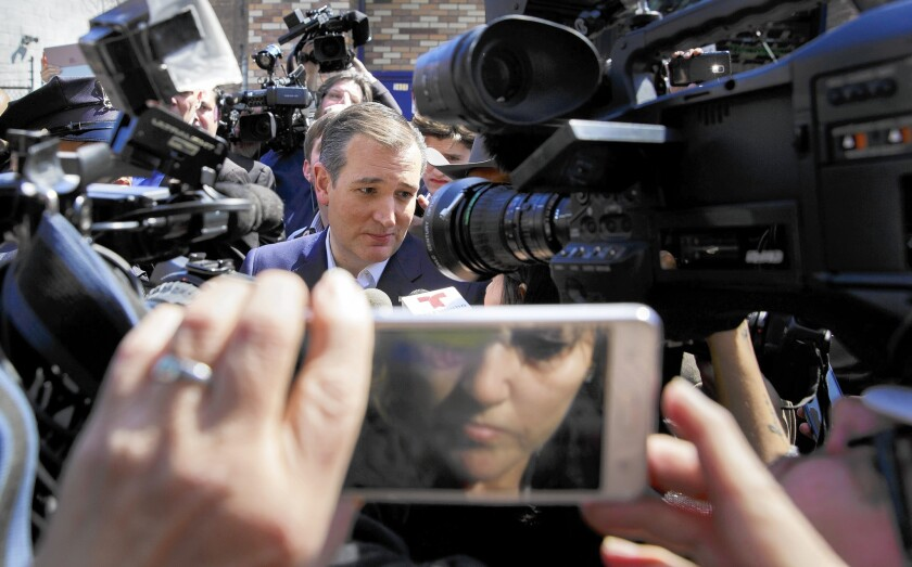 Ted Cruz campaigns in New York on Wednesday.