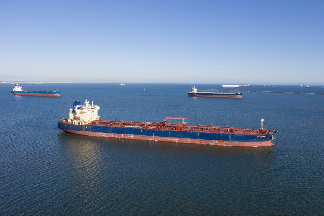The SCF Provider oil tanker, along with many other ships carrying oil sit idle beyond the breakwaters of Long Beach