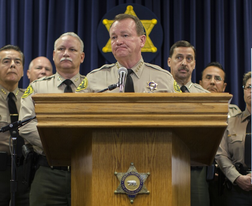 Los Angeles County Sheriff Jim McDonnell holds a press conference at Sherman Block Sheriff's Headquarters Building on January 14 in Monterey Park.