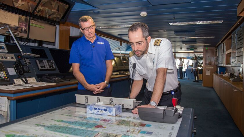 Michael Bayley, president and CEO of Royal Caribbean International, and Capt. Tomas Busto traveled aboard Adventure of the Seas on Oct. 3 to evacuate people from Puerto Rico after Hurricane Maria.