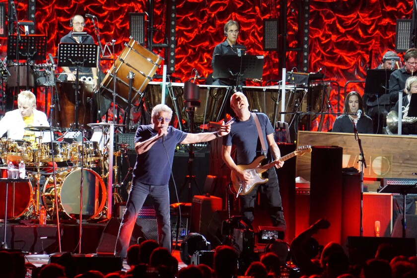 "Lead singer Roger Daltrey (left) and guitarist Pete Townshend are shown at the Hollywood Bowl Saturday, where The Who performed as part of its orchestral ""Moving On!""tour prior to the legendary English rock band's Wednesday night San Diego concert at Viejas Arena."