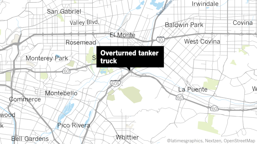 An overturned tanker truck forced the closure of all southbound lanes of the 605 Freeway just north of the 60 Freeway.