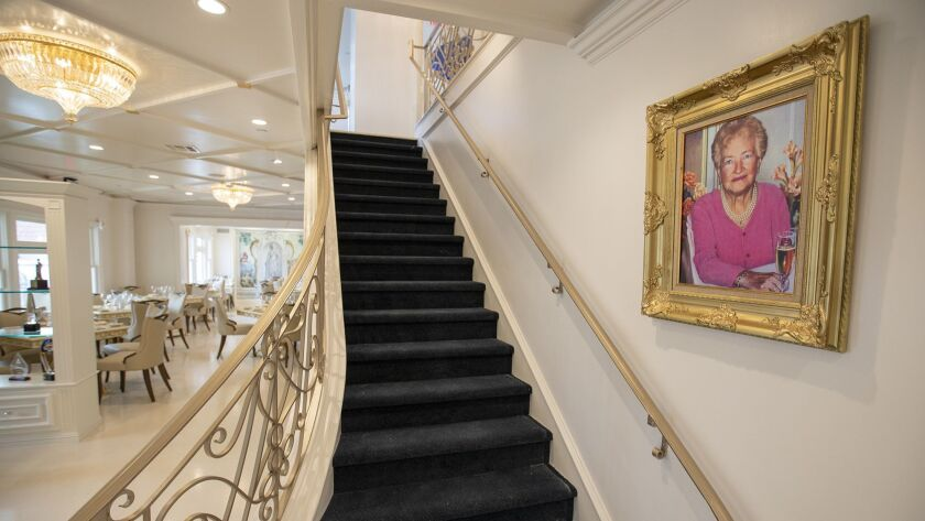 Sir Bruno Serato's mother Caterina hangs on the wall in his newly renovated Anaheim White House rest