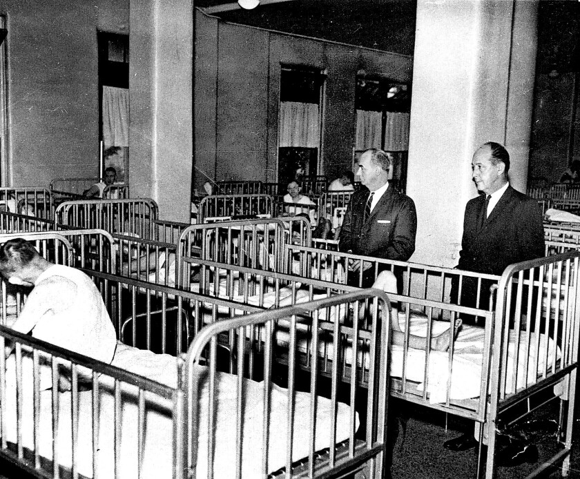 Some adult patients at the Pennhurst State School and Hospital spent their days and nights in cribs. The institution was closed in the 1980s after a long legal battle.