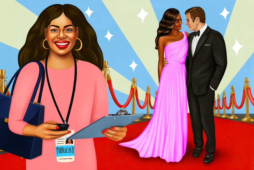 Illustration of a publicist on a red carpet next to glamorous celebrities she represents