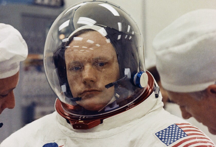 FILE - This 1969 file photo shows astronaut Neil Armstrong in space suit. On Wednesday, Aug. 11, 2021, the NASA Plum Brook Station in Sandusky, Ohio was officially renamed after Armstrong, who was born in the state and returned shortly after he became the first man to walk on the moon. (AP Photo)