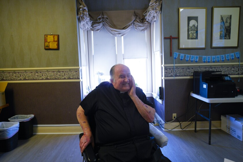 Father Joe Carroll in his home office.