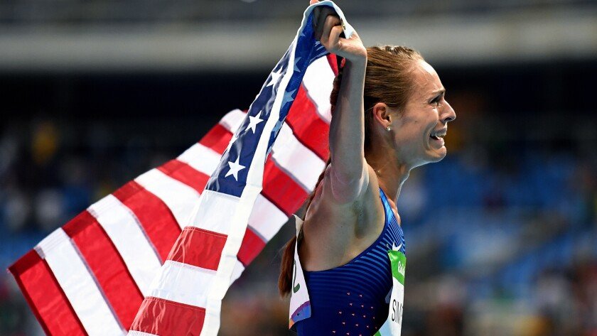 American distance runner Jenny Simpson can't hold back her emotions after winning the bronze medal in the 1,500 meters on Tuesday night.