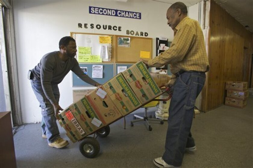 In this photo taken on Wednesday, March 3, 2010, Pastor Steven Pollard, left, and volunteer Charles Cole, right, help sort donated food products at the Second Chance Resource Center, a job training and community resource center at the St. Luke Restoration Christian Center in South Central Los Angeles. New claims for jobless benefits fell last week in a sign that layoffs may be easing as the economy slowly recovers. (AP Photo/Damian Dovarganes)