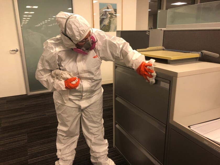 Disinfecting a workplace