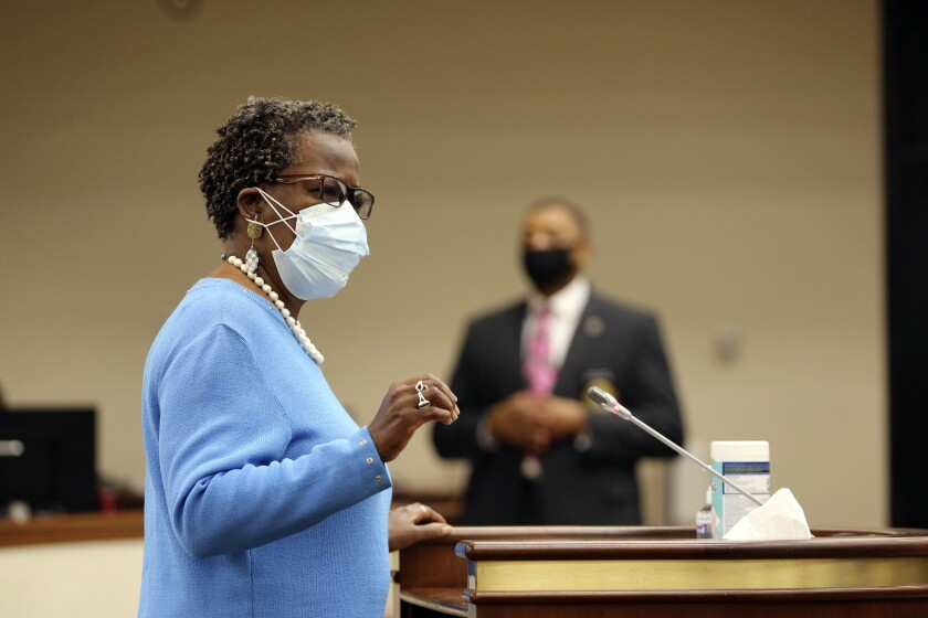 State Rep. Gilda Cobb-Hunter, D-Orangeburg, speaks about a bill she sponsored that would expand voting in the South Carolina, Thursday, April 15, 2021, in Columbia, S.C. Republicans held a hearing on the bill, but only allowed less than an hour of testimony. (AP Photo/Jeffrey Collins)