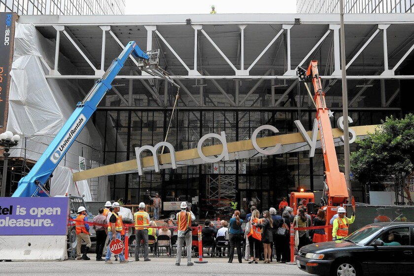The roof truss of the atrium will be removed as part of renovation of the Bloc, formerly Macy's Plaza, at Seventh and Flower streets in downtown L.A.
