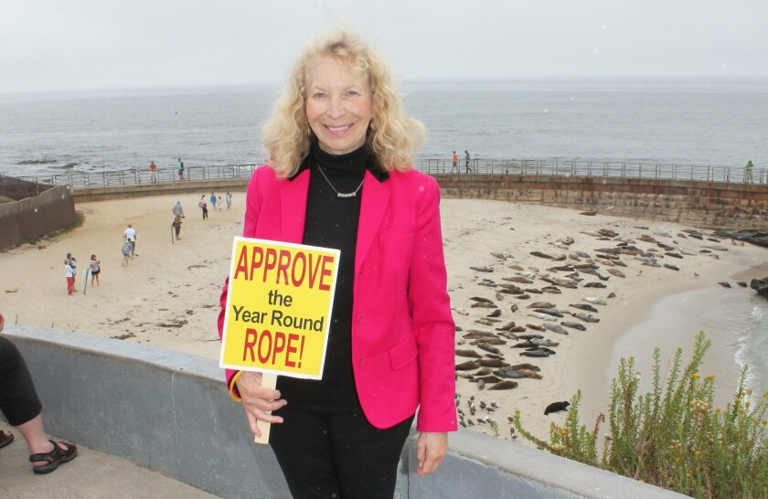 Dr. Jane Reldan of the Seal Conservancy of San Diego (formerly Friends of La Jolla Seals) was one of several members of her advocacy organization that testified in behalf of extending the rope permit during the California Coastal Commission's June 10 hearing.