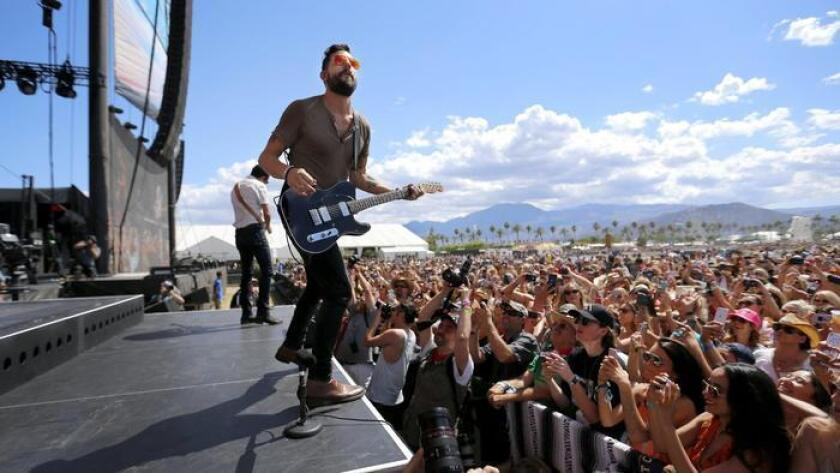 Matthew Ramsey, lead singer of Old Dominion, performs on the Mane Stage at this year's Stagecoach Country Music Festival at the Empire Polo Club. (Allen J. Schaben)