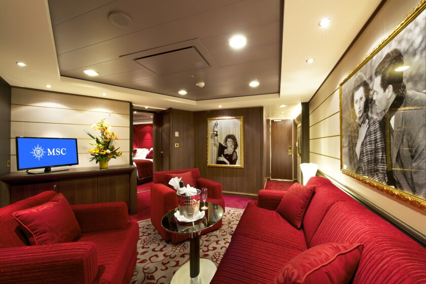The Royal Suite on MSC Cruises pays tribute to Italian film star Sophia Loren.