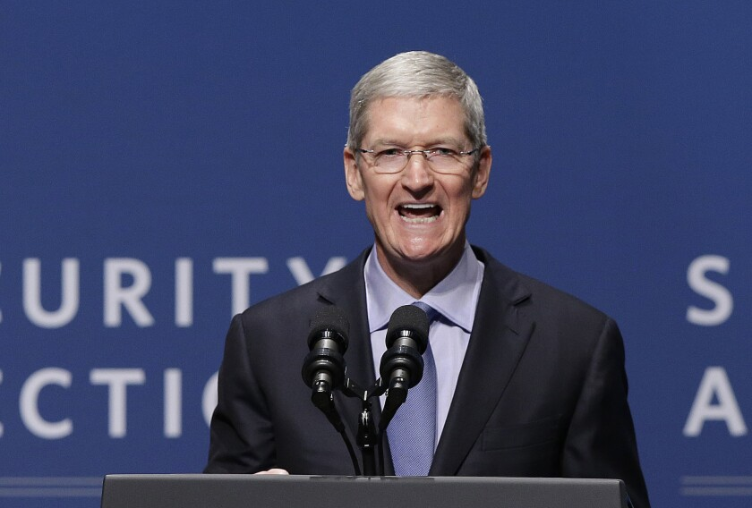 """""""We have a straightforward business model that's based on selling the best products and services in the world, not on selling your data,"""" Apple CEO Tim Cook said Friday at Stanford University."""