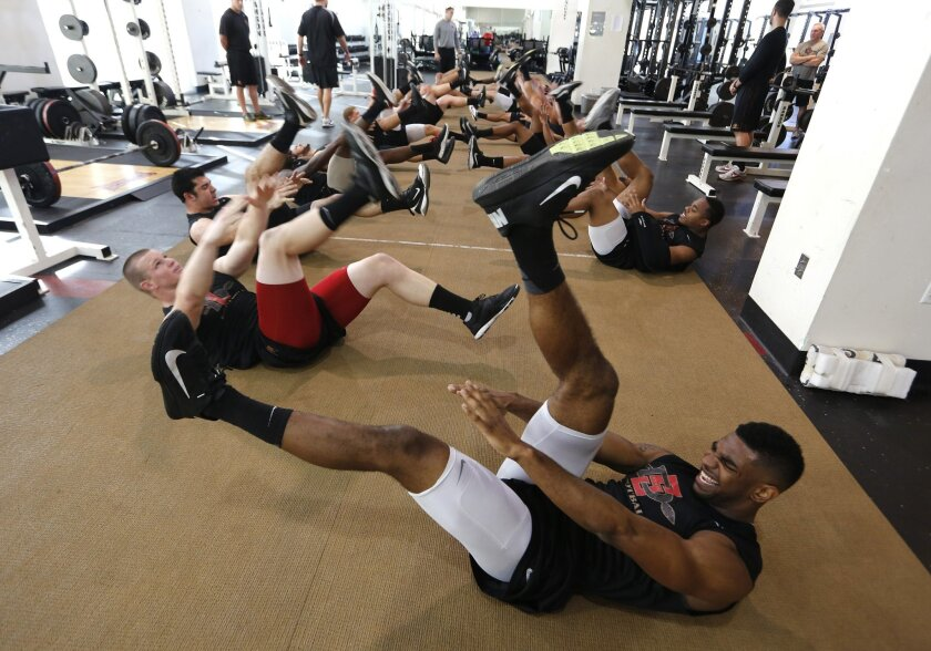 Defensive back Eric Pinkins (bottom right) works out with his team during SDSU football's strength training session.