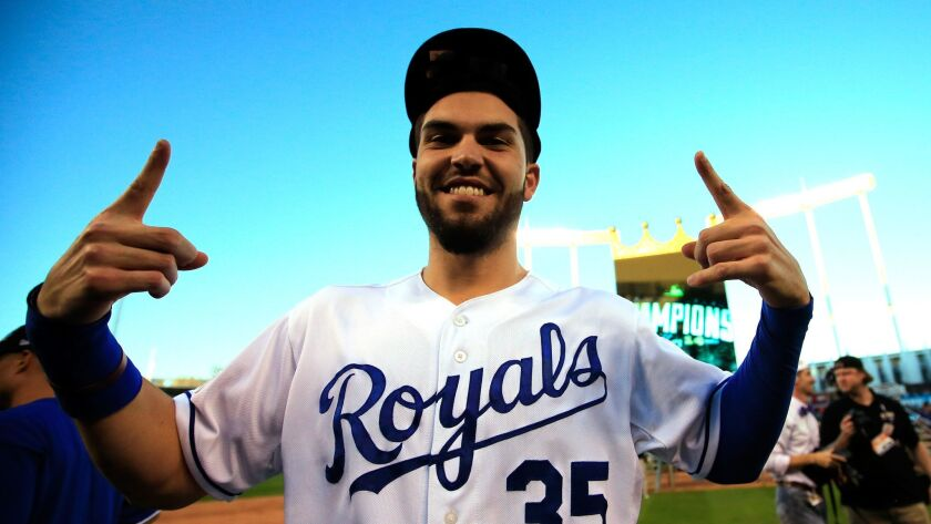First baseman Eric Hosmer celebrates the Kansas City Royals' victory over the Baltimore Orioles in Game 4 of the American League Championship Series at Kauffman Stadium on Oct. 15, 2014.