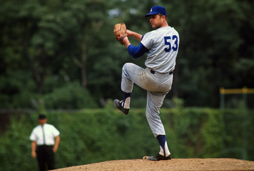 Don Drysdale, shown in 1965 in Pittsburgh, pitched for the Dodgers in the first game against the Giants in the Bay Area.