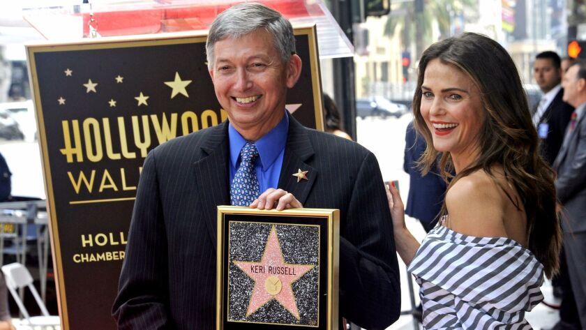 Leron Gubler, president and CEO of the Hollywood Chamber of Commerce, with actress Keri Russell at her star ceremony on the Hollywood Walk of Fame on May 30.