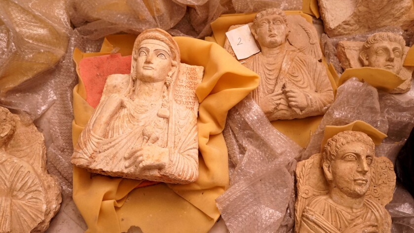 Some archaeological artifacts, including many from the ancient city of Palmyra, were evacuated for s