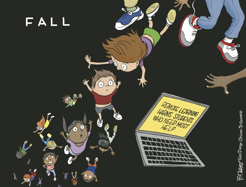 """In this cartoon, the caption reads """"Fall"""" and disadvantaged kids and a computer fall into a remote learning chasm"""
