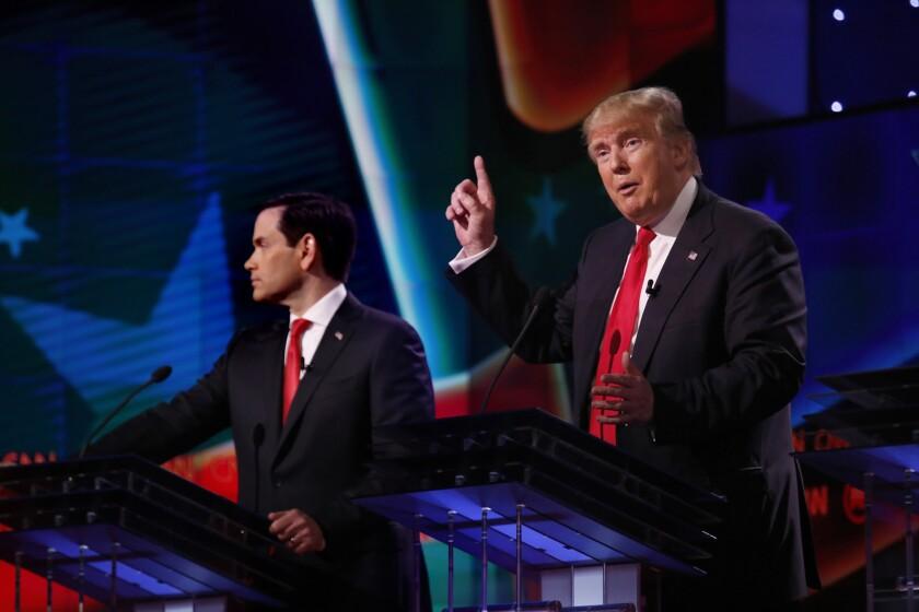 Marco Rubio and Donald Trump debate in Florida