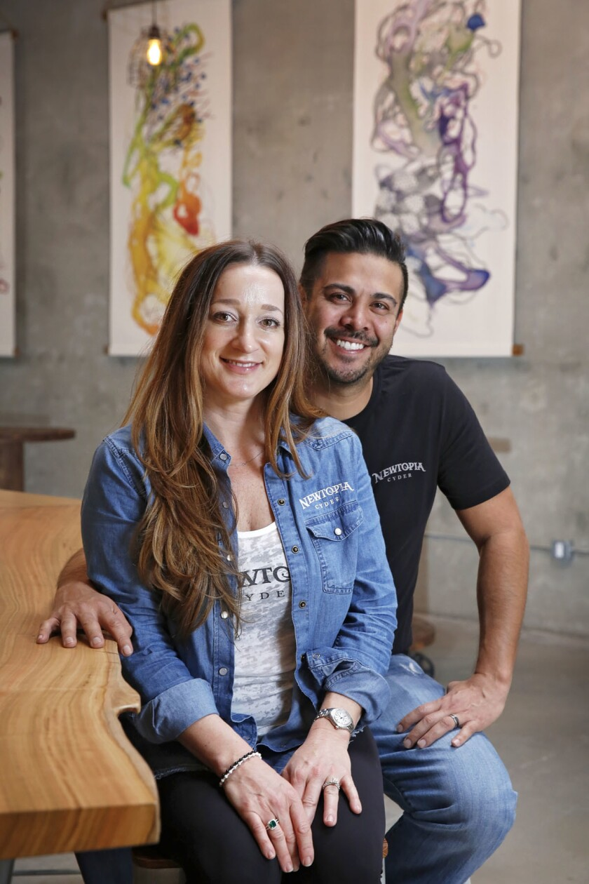 Wife and husband team of Jennifer Hays Moreno and Rick Moreno, are owners behind Newtopia Cyder, located in the Carroll Canyon area of Scripps Ranch. (Nancee E. Lewis)