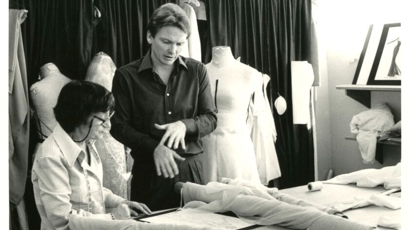 Bob Mackie in his workroom with his cutter/fitter Annie Shapiro.