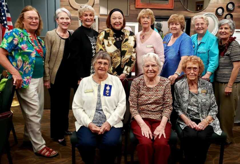 At a recent luncheon at the Shadowridge Golf Club, The Woman's Club of Vista GFWC honored longtime members, past presidents and membership milestones. The members shown represent 172 years of service in North County communities. This year the club is 103 years old. A few of the members shown served earlier in The Woman's Club of Vista Juniors. From left, seated: Sylvia Buesch (30 years), Ruth Schneider (27 years) and Shirley Lahr (40 years). Standing: Past President Nancy B Jones (10 years), Karen Rott (five years), Mayor Judy Ritter (five years), Fran Jensen (10 years), Carolyn Chiriboga (10 years), Alice Reule (15 years), Sheila Carlson (15 years) and Linda Story (five years). Not pictured: Cheryl Mast (five years), April Hamilton (five years), and Past Presidents and longtime members Carol Yunt (29 years) and Lynn Sapin (21 years).